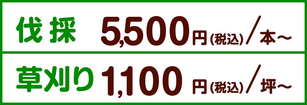 伐採5,000円/本 草刈り500/坪